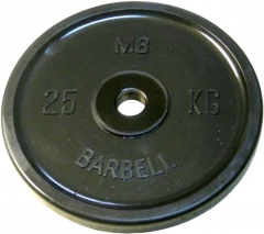 Диск обрезиненный евро-классик 25 кг Barbell MB-PltBE-25